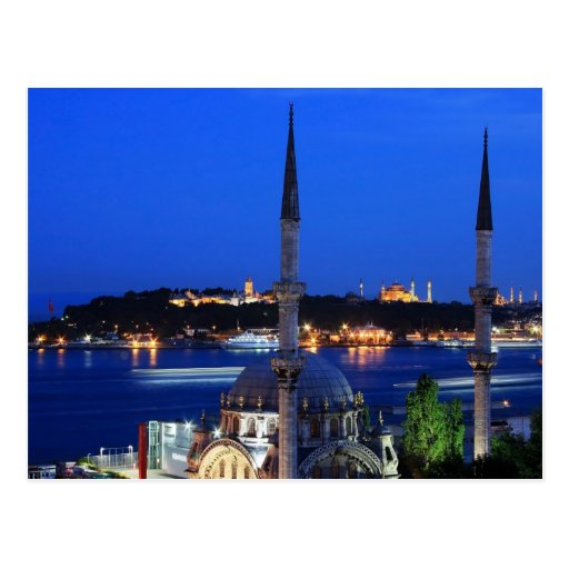 Night view of popular places of Istanbul Postcard