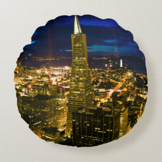 Night view of San Francisco. Round Pillow