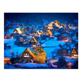 Night view of Shirakawa-go Postcard