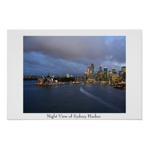 Night View of Sydney Harbor Poster