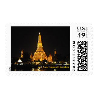 Night view of temples in centre of Bangkok Postage