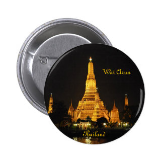 Night view of temples Wat Arun in Bangkok Pinback Button