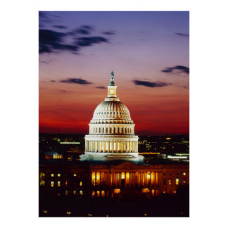 Night view of the U.S. Capitol Poster