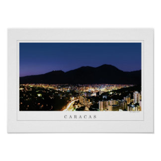 Night view poster of Caracas & Avila's silhouette