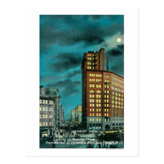 Night View up Kearney St at Chronicle Bldg Postcard