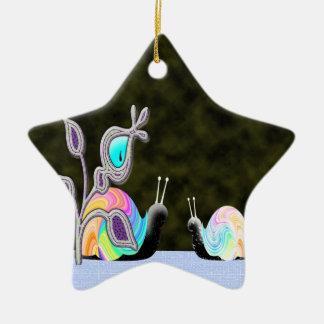 Night vision chatting snails ceramic ornament