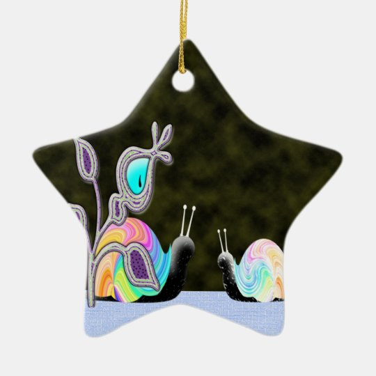 Night vision chatting snails ceramic ornament