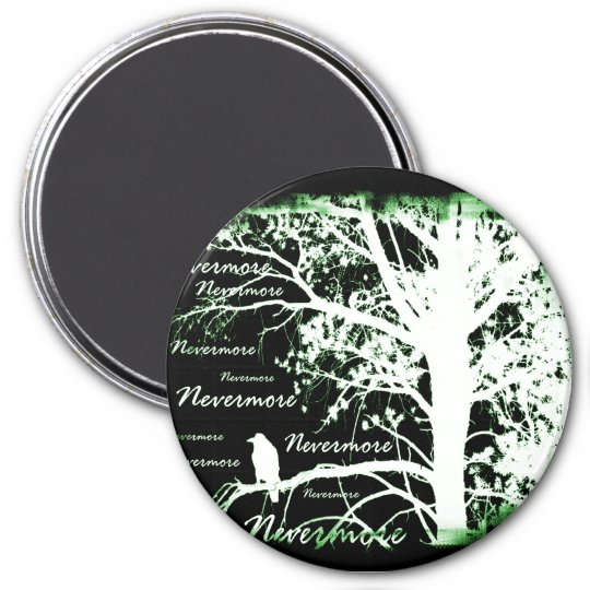 Night Vision Nevermore Raven Silhouette Magnet