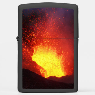 Night volcanic eruption: fireworks lava in crater zippo lighter