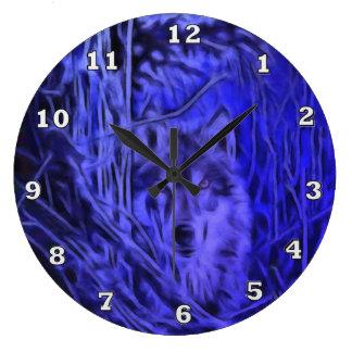 Night Warrior Wolf Clock