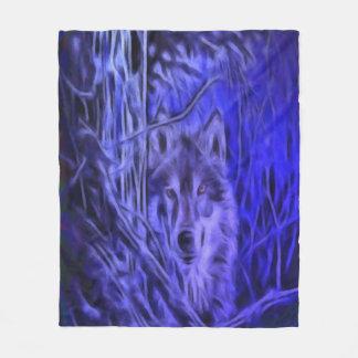 Night Warrior Wolf Fleece Blanket