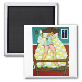 Night Watch - Chihuahua on duty 2 Inch Square Magnet
