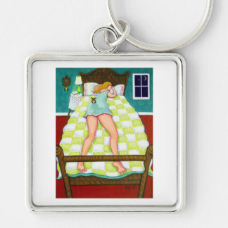 Night Watch - Chihuahua on duty Silver-Colored Square Keychain
