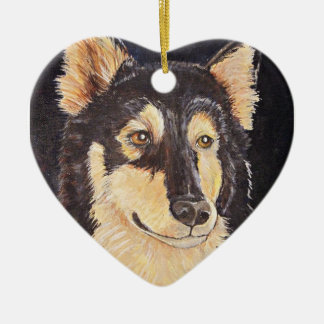 Night Watch Double-Sided Heart Ceramic Christmas Ornament