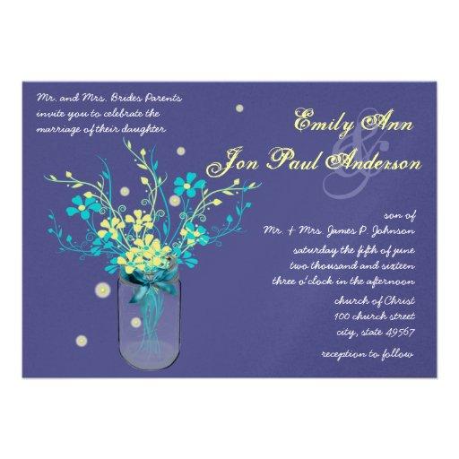 Night Wedding Navy Aqua Yellow Flower Mason Jar Announcement