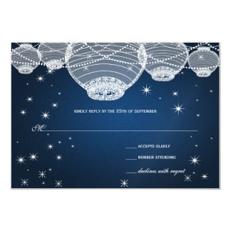 Night Wedding Navy Paper Lanterns Under the Stars Card