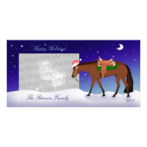 Night Western Horse Holiday Photo Card