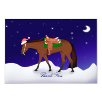 Night Western Horse Holiday Thank You Note Card