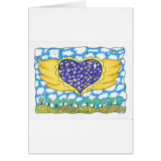 NIGHT WINGED HEART by Ruth I. Rubin Greeting Cards