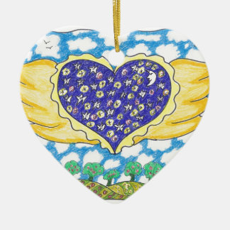 NIGHT WINGED HEART by Ruth I. Rubin Double-Sided Heart Ceramic Christmas Ornament