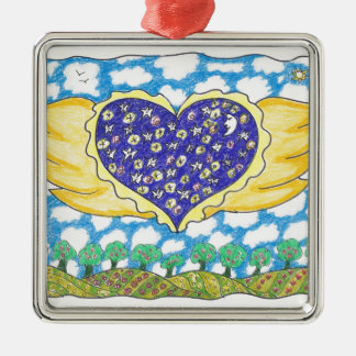 NIGHT WINGED HEART by Ruth I. Rubin Square Metal Christmas Ornament