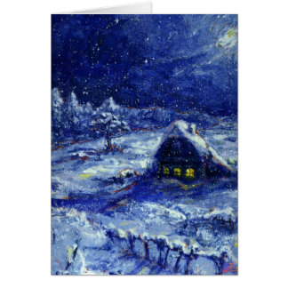 Night. Winter. Russia - Note Card