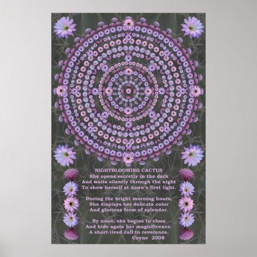 Nightblooming Mandala 5 with Poem Poster