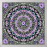 Nightblooming Mandala with Butterflies Poster