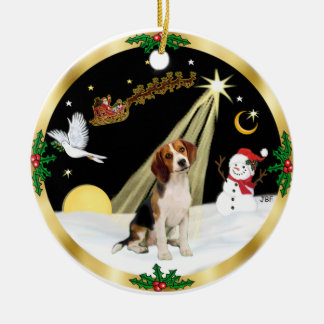 NightFlight-  Beagle Ceramic Ornament