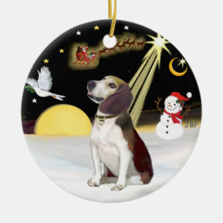 NightFlight-  Beagle (looking up) Ceramic Ornament