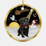 NightFlight-  Black Pug (#13) Christmas Ornaments