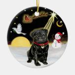 NightFlight-  Black Pug (#13) Christmas Tree Ornaments