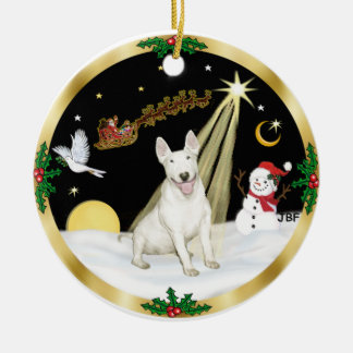 NightFlight-  Bull Terrier Ceramic Ornament