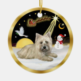 NightFlight-  Cairn Terrier Double-Sided Ceramic Round Christmas Ornament