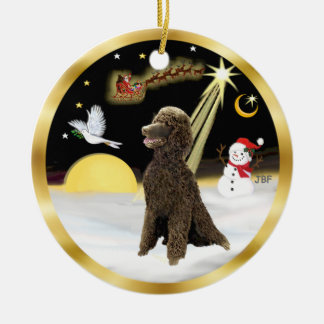 NightFlight-  Chocolate Standard Poodle Double-Sided Ceramic Round Christmas Ornament