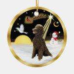 NightFlight-  Chocolate Standard Poodle Christmas Tree Ornaments