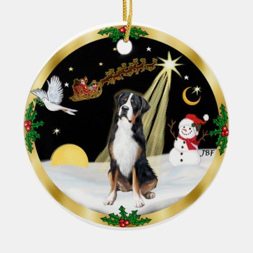NightFlight-  Greater Swiss Mountain Dog Christmas Tree Ornament
