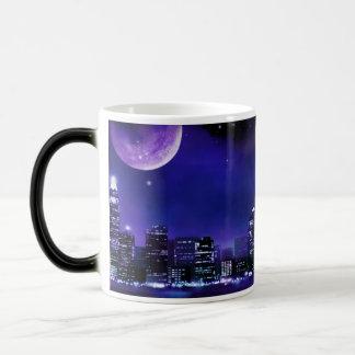 Nightime Moon Over City Magic Mug