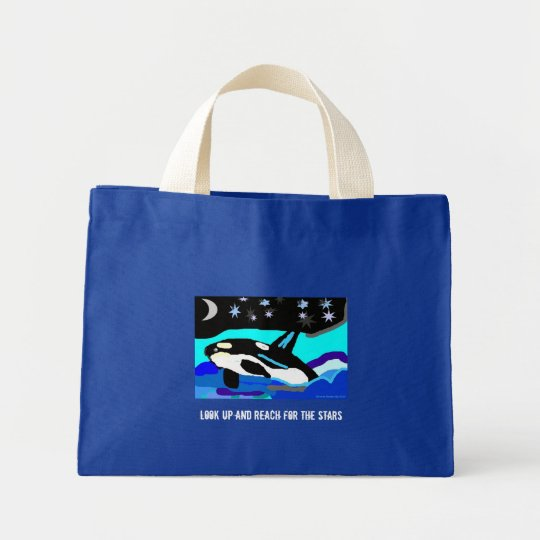 Nightime Star Orca Whale, Look up and Reach for... Mini Tote Bag