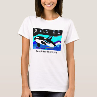 Nightime Star Orca Whale, Reach for the Stars T-Shirt