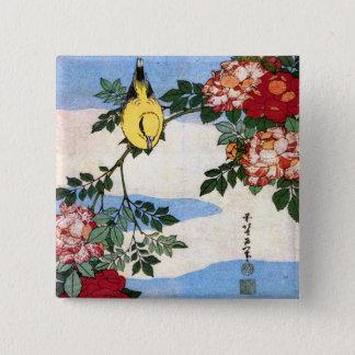 Nightingale & Roses Hokusai Japanese Fine Art Button