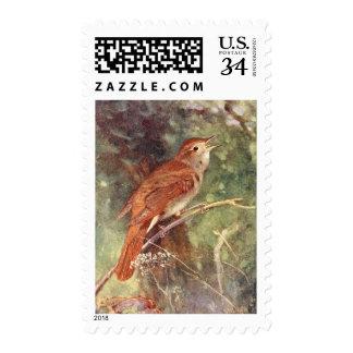 Nightingale Singing Stamp