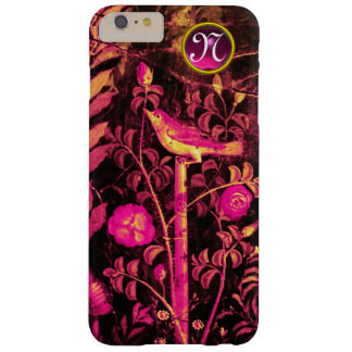 NIGHTINGALE WITH ROSES MONOGRAM, Pink Black Yellow Barely There iPhone 6 Plus Case