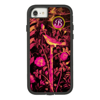NIGHTINGALE WITH ROSES MONOGRAM, Pink Black Yellow Case-Mate Tough Extreme iPhone 8/7 Case