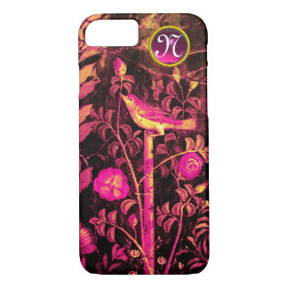 NIGHTINGALE WITH ROSES MONOGRAM, Pink Black Yellow iPhone 8/7 Case