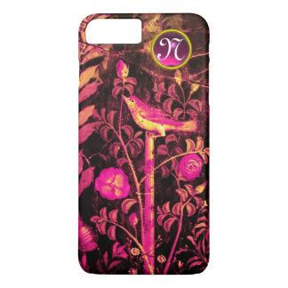 NIGHTINGALE WITH ROSES MONOGRAM, Pink Black Yellow iPhone 8 Plus/7 Plus Case