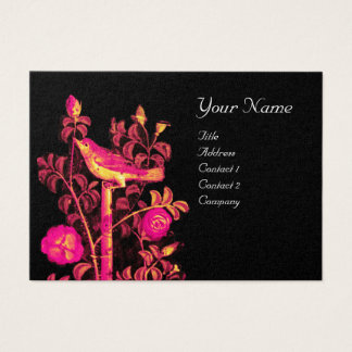 NIGHTINGALE WITH ROSES MONOGRAM ,Pink Gold Black Business Card