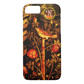 NIGHTINGALE WITH ROSES MONOGRAM, Red Black Yellow iPhone 8/7 Case