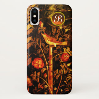 NIGHTINGALE WITH ROSES MONOGRAM, Red Black Yellow iPhone X Case