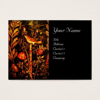 NIGHTINGALE WITH ROSES MONOGRAM , Red Yellow Black Business Card